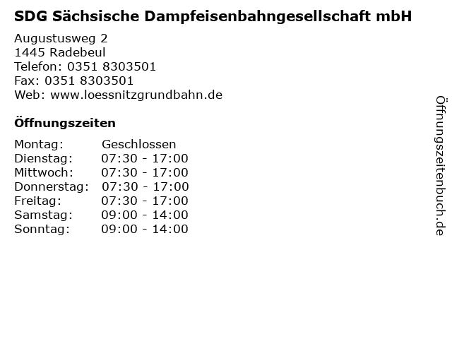 SDG Sächsische Dampfeisenbahngesellschaft mbH in Radebeul: Adresse und Öffnungszeiten