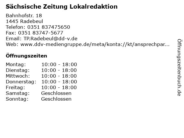 Sächsische Zeitung Lokalredaktion in Radebeul: Adresse und Öffnungszeiten