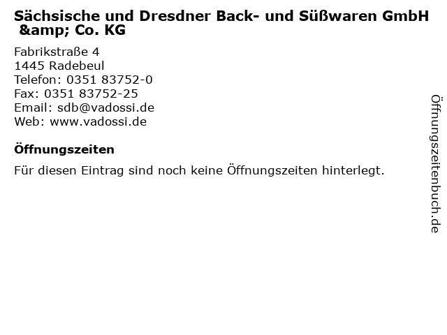 Sächsische und Dresdner Back- und Süßwaren GmbH & Co. KG in Radebeul: Adresse und Öffnungszeiten
