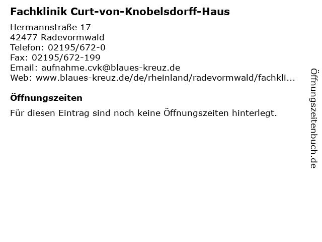 Fachklinik Curt-von-Knobelsdorff-Haus in Radevormwald: Adresse und Öffnungszeiten