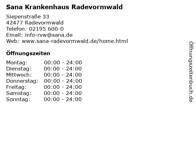 Sana Krankenhaus Radevormwald in Radevormwald: Adresse und Öffnungszeiten