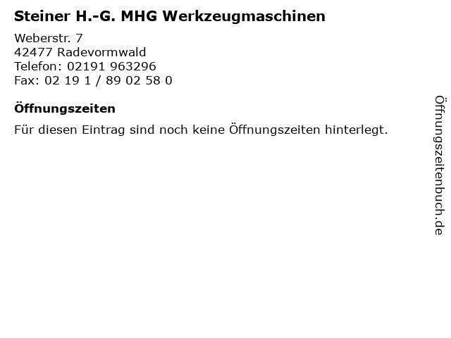 Steiner H.-G. MHG Werkzeugmaschinen in Radevormwald: Adresse und Öffnungszeiten