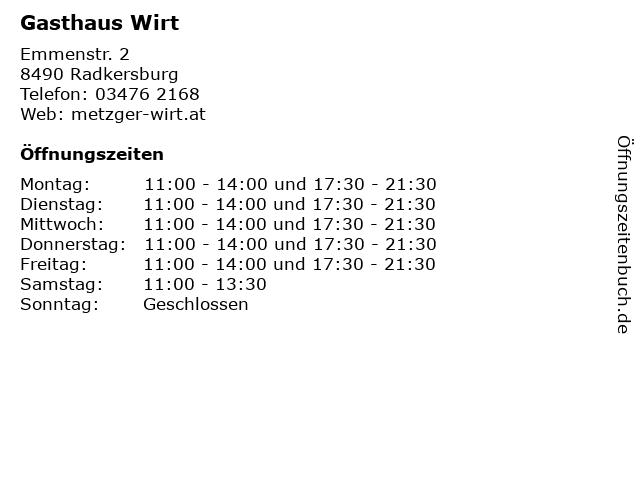 Gasthaus Wirt in Radkersburg: Adresse und Öffnungszeiten