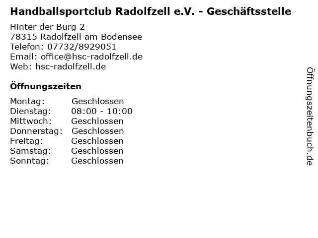 Handballsportclub Radolfzell e.V. - Geschäftsstelle in Radolfzell am Bodensee: Adresse und Öffnungszeiten