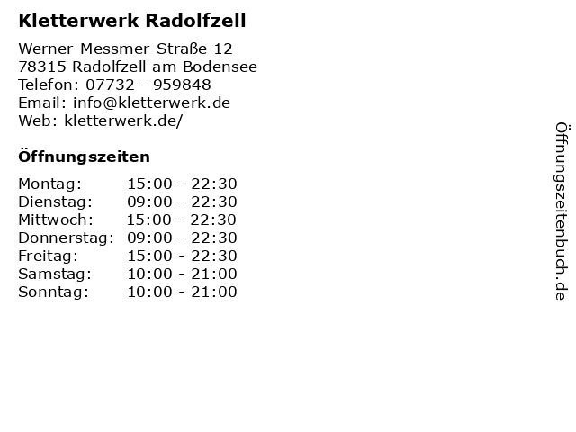 Kletterwerk Radolfzell in Radolfzell am Bodensee: Adresse und Öffnungszeiten