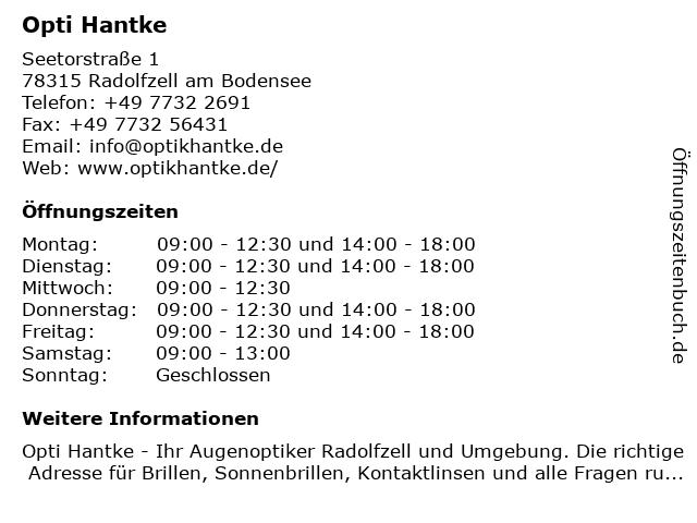 Hantke Optik in Radolfzell: Adresse und Öffnungszeiten