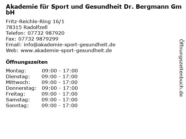 Akademie für Sport und Gesundheit Dr. Bergmann GmbH in Radolfzell: Adresse und Öffnungszeiten