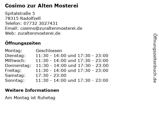 Cosimo zur Alten Mosterei in Radolfzell: Adresse und Öffnungszeiten