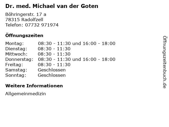 Dr. med. Michael van der Goten in Radolfzell: Adresse und Öffnungszeiten
