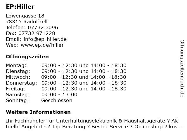 EP:Hiller in Radolfzell: Adresse und Öffnungszeiten