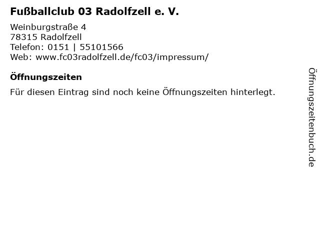 Fußballclub 03 Radolfzell e. V. in Radolfzell: Adresse und Öffnungszeiten
