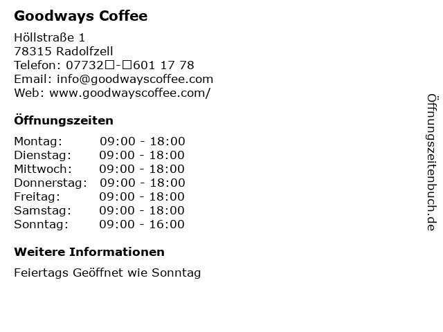 Goodways Coffee in Radolfzell: Adresse und Öffnungszeiten