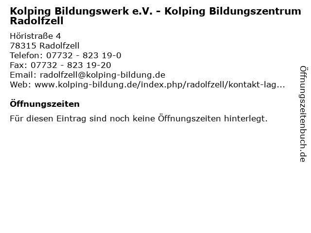Kolping Bildungswerk e.V. - Kolping Bildungszentrum Radolfzell in Radolfzell: Adresse und Öffnungszeiten