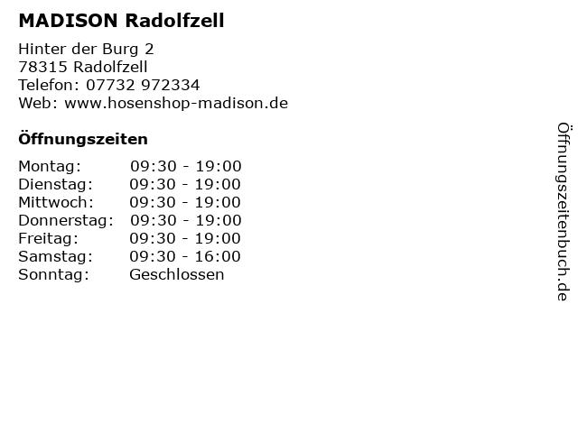 MADISON Radolfzell in Radolfzell: Adresse und Öffnungszeiten