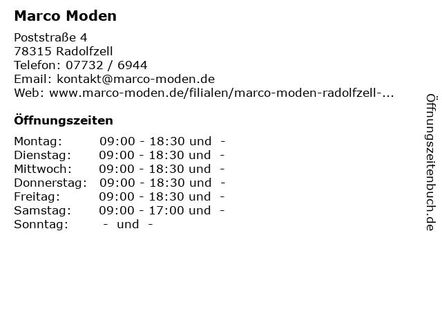 Marco Moden in Radolfzell: Adresse und Öffnungszeiten