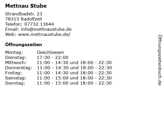 Mettnau Stube in Radolfzell: Adresse und Öffnungszeiten