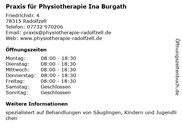 Praxis für Physiotherapie Ina Burgath in Radolfzell: Adresse und Öffnungszeiten