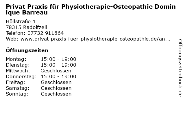 Privat Praxis für Physiotherapie-Osteopathie Dominique Barreau in Radolfzell: Adresse und Öffnungszeiten