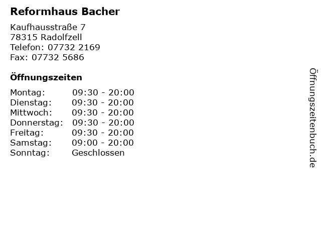 Reformhaus Bacher in Radolfzell: Adresse und Öffnungszeiten