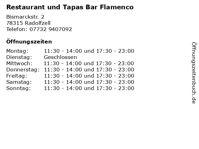 Restaurant und Tapas Bar Flamenco in Radolfzell: Adresse und Öffnungszeiten