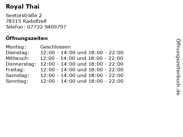 Royal Thai in Radolfzell: Adresse und Öffnungszeiten
