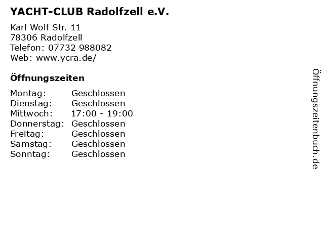 YACHT-CLUB Radolfzell e.V. in Radolfzell: Adresse und Öffnungszeiten