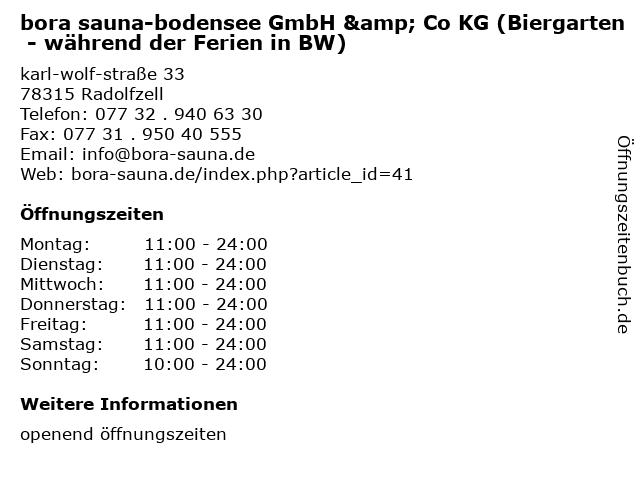 bora sauna-bodensee GmbH & Co KG (Biergarten - während der Ferien in BW) in Radolfzell: Adresse und Öffnungszeiten