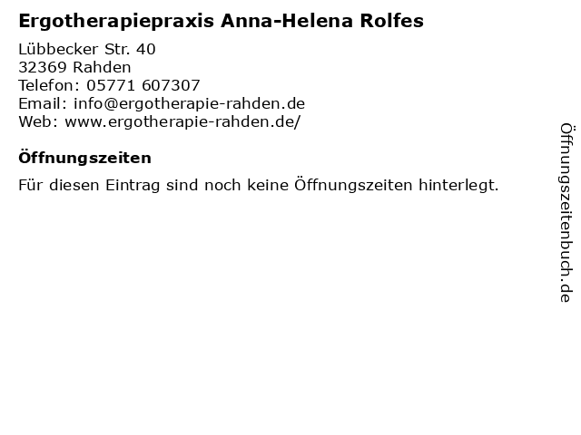 Ergotherapiepraxis Anna-Helena Rolfes in Rahden: Adresse und Öffnungszeiten