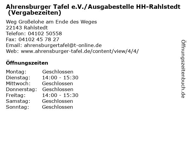 Ahrensburger Tafel e.V./Ausgabestelle HH-Rahlstedt (Vergabezeiten) in Rahlstedt: Adresse und Öffnungszeiten