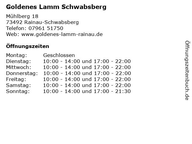 Goldenes Lamm Schwabsberg in Rainau-Schwabsberg: Adresse und Öffnungszeiten