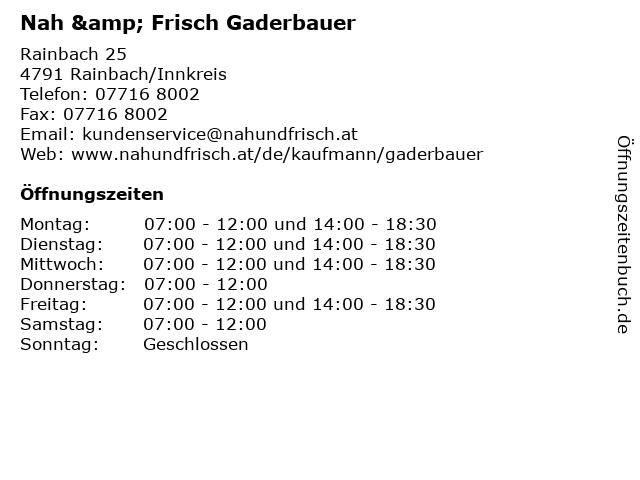 Nah & Frisch Gaderbauer in Rainbach/Innkreis: Adresse und Öffnungszeiten