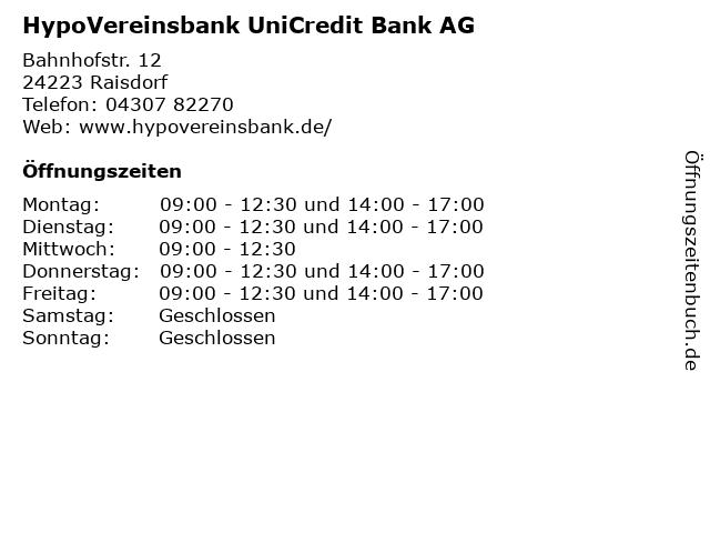 HypoVereinsbank UniCredit Bank AG in Raisdorf: Adresse und Öffnungszeiten