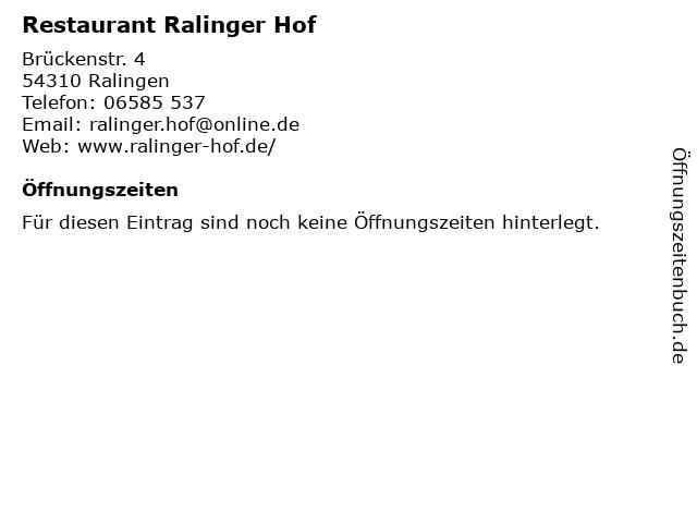Restaurant Ralinger Hof in Ralingen: Adresse und Öffnungszeiten