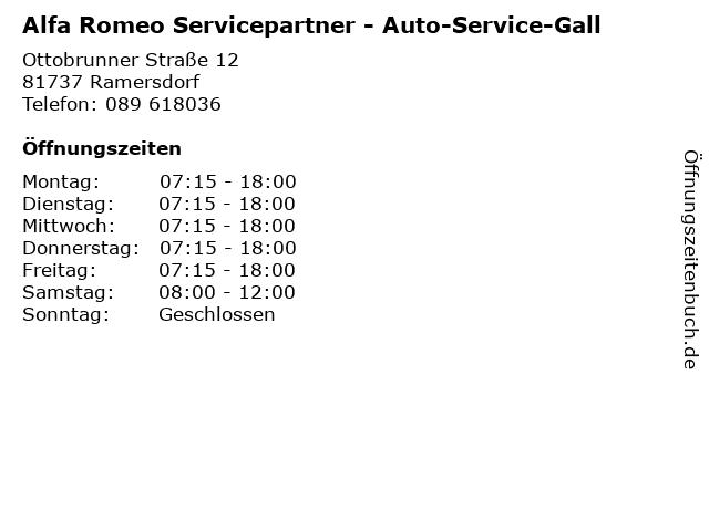 Alfa Romeo Servicepartner - Auto-Service-Gall in Ramersdorf: Adresse und Öffnungszeiten