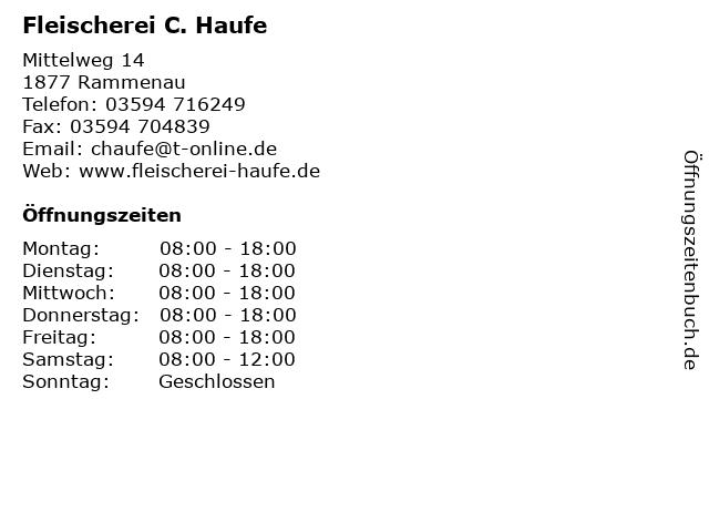 Fleischerei C. Haufe in Rammenau: Adresse und Öffnungszeiten