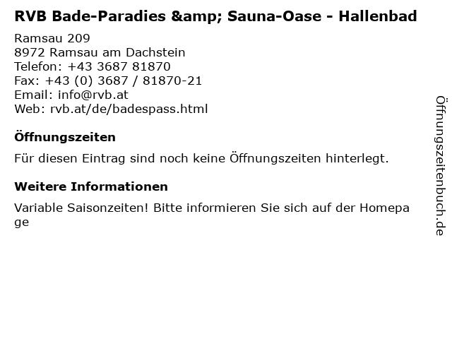 RVB Bade-Paradies & Sauna-Oase - Hallenbad in Ramsau am Dachstein: Adresse und Öffnungszeiten