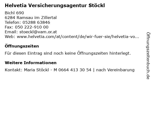 Helvetia Versicherungsagentur Stöckl in Ramsau im Zillertal: Adresse und Öffnungszeiten