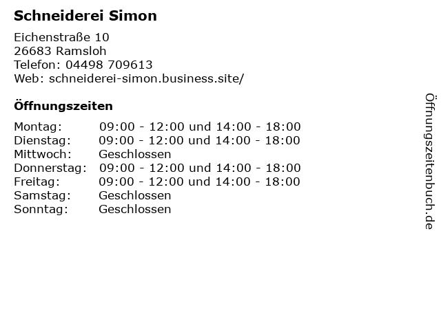 Schneiderei Simon in Ramsloh: Adresse und Öffnungszeiten