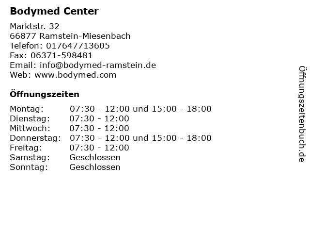 Bodymed Center in Ramstein-Miesenbach: Adresse und Öffnungszeiten