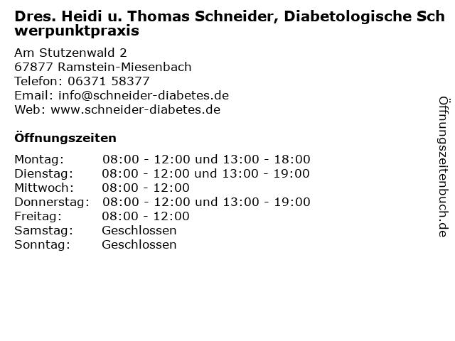 Dres. Heidi u. Thomas Schneider, Diabetologische Schwerpunktpraxis in Ramstein-Miesenbach: Adresse und Öffnungszeiten