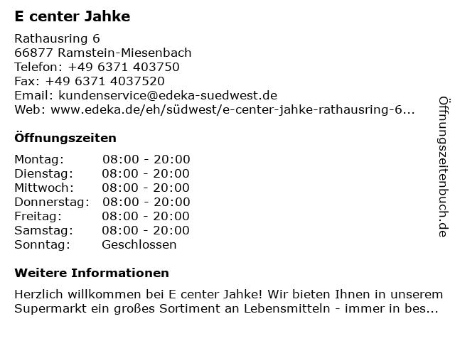 E center Jahke in Ramstein-Miesenbach: Adresse und Öffnungszeiten