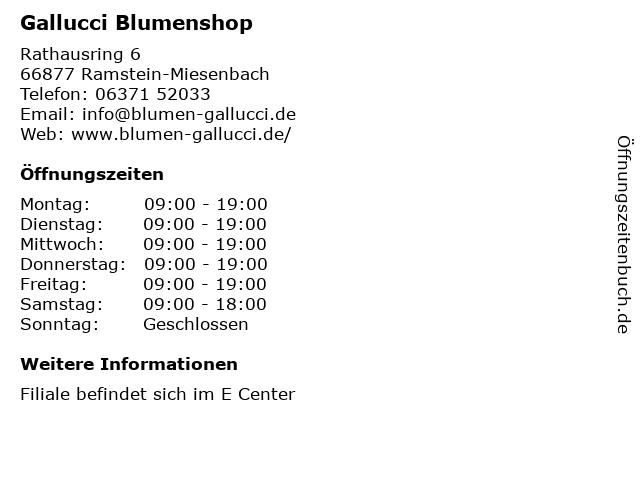 Gallucci Blumenshop in Ramstein-Miesenbach: Adresse und Öffnungszeiten