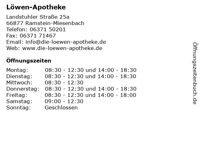 Löwen-Apotheke in Ramstein-Miesenbach: Adresse und Öffnungszeiten