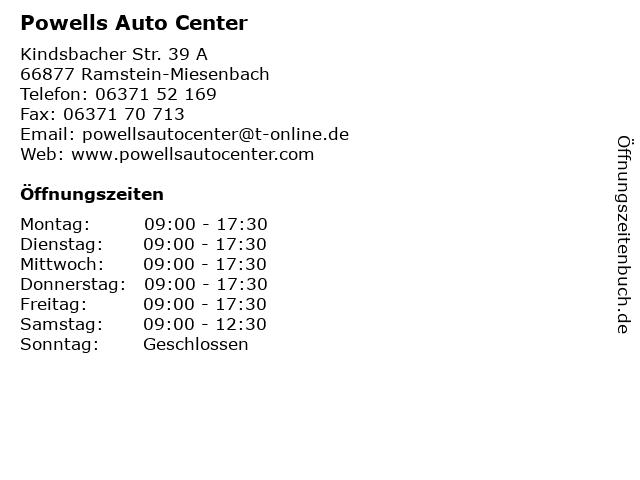 Powells Auto Center in Ramstein-Miesenbach: Adresse und Öffnungszeiten