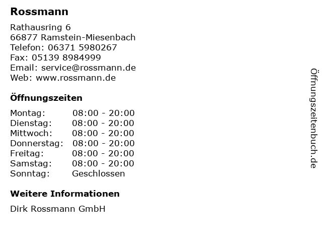 Rossmann in Ramstein-Miesenbach: Adresse und Öffnungszeiten