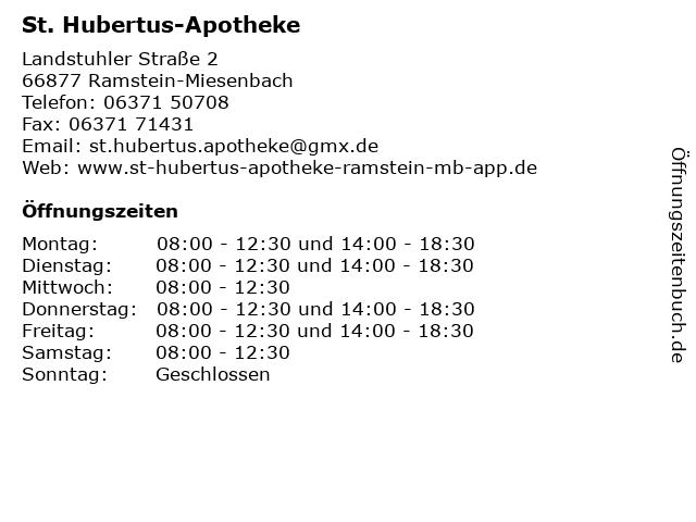 St. Hubertus-Apotheke in Ramstein-Miesenbach: Adresse und Öffnungszeiten