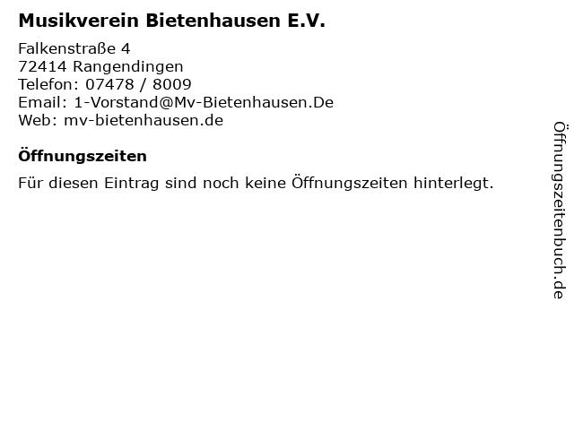 Musikverein Bietenhausen E.V. in Rangendingen: Adresse und Öffnungszeiten