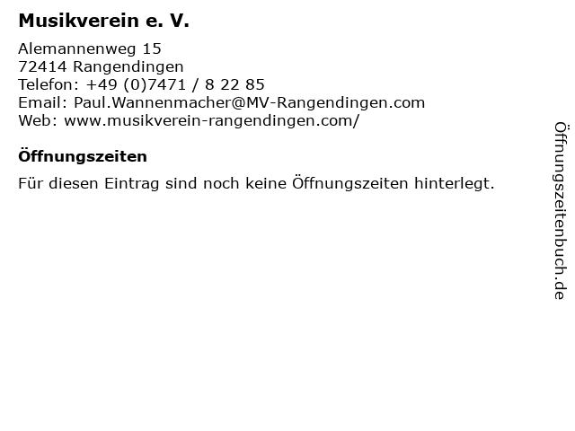 Musikverein e. V. in Rangendingen: Adresse und Öffnungszeiten