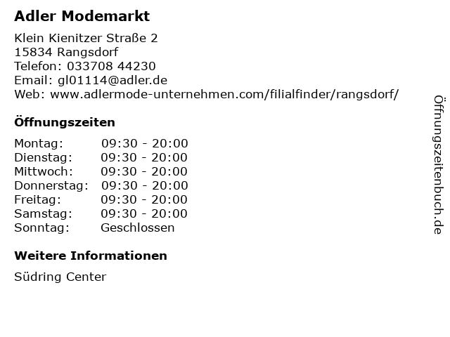 Adler Modemärkte AG in Rangsdorf: Adresse und Öffnungszeiten