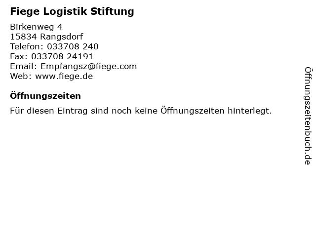 Fiege Logistik Stiftung in Rangsdorf: Adresse und Öffnungszeiten
